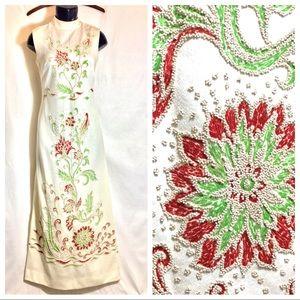 Vintage Ivory floral beaded 70s Dress